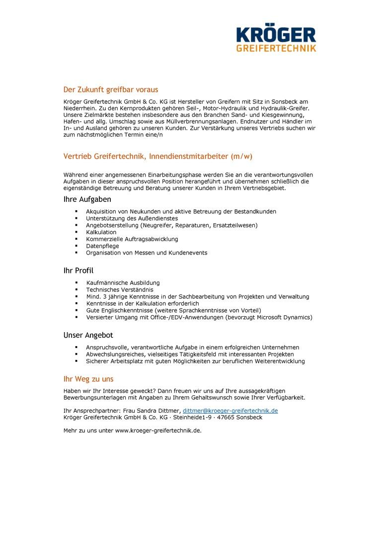 Vertrieb Greifertechnik, Innendienstmitarbeiter (m/w)