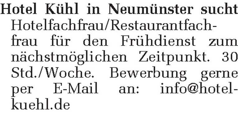 Hotelfachfrau/Restaurantfachfrau