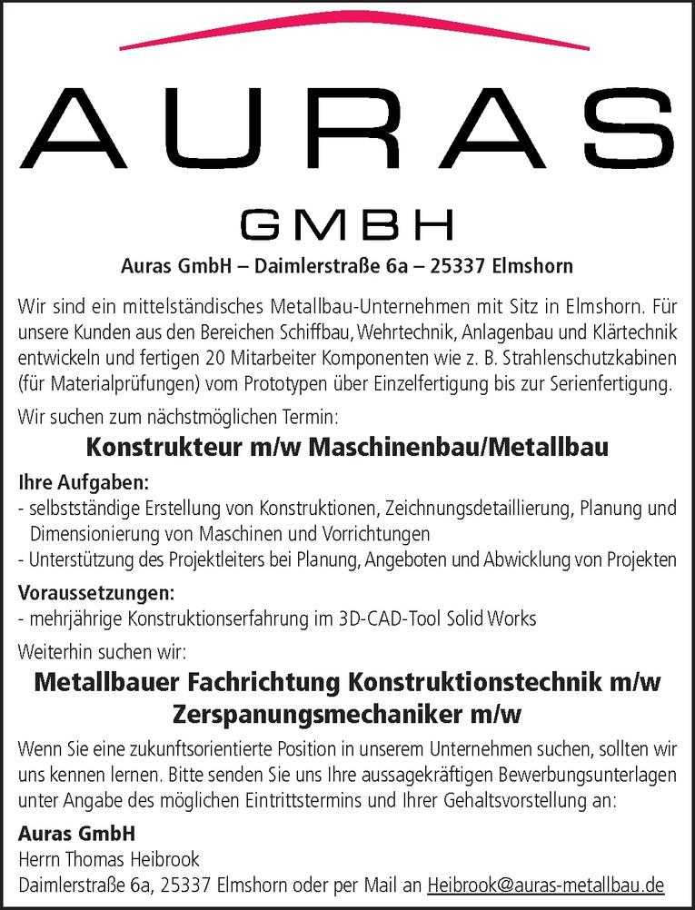 Konstrukteur m/w Maschinenbau/Metallbau