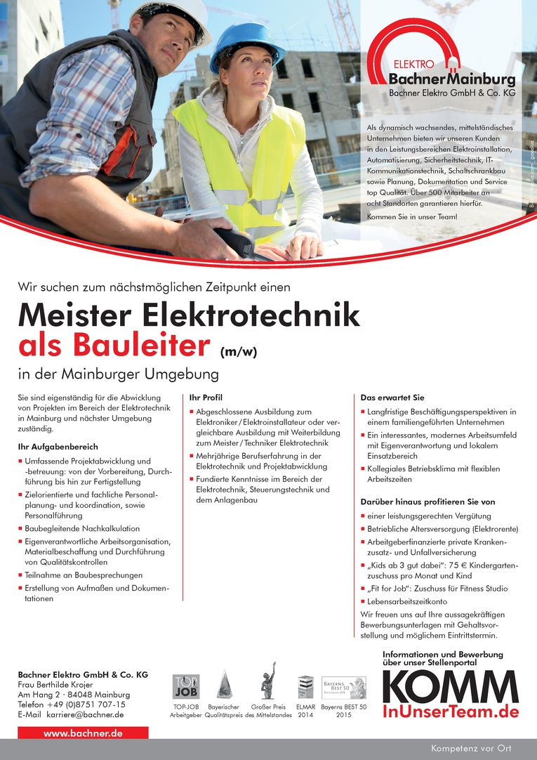 Meister Elektrotechnik als Bauleiter (m/w)