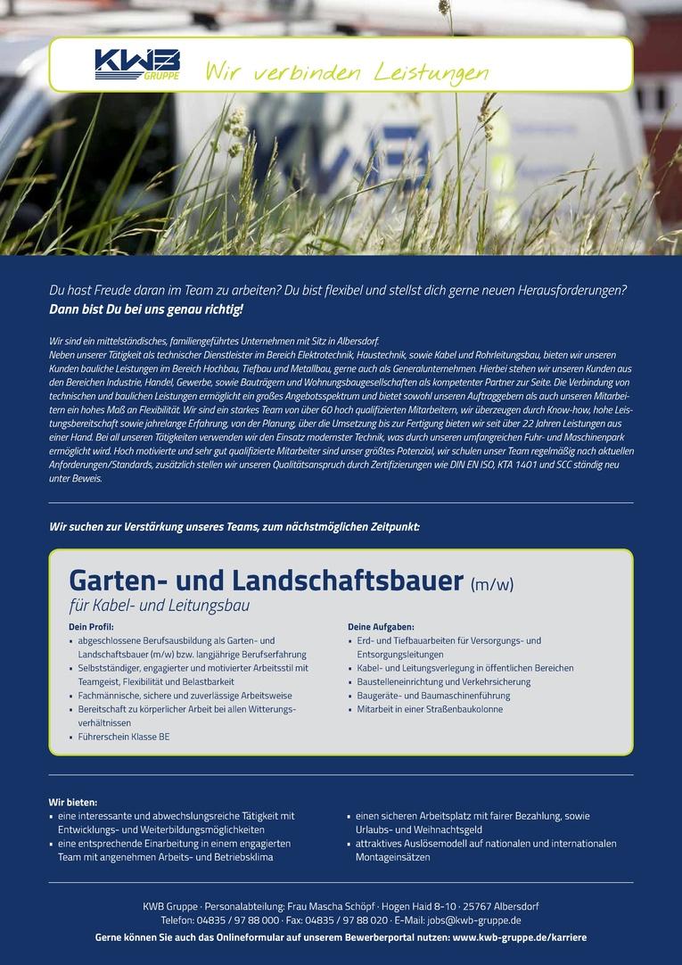 Garten- und Landschaftsbauer (m/w) für Kabel- und Leitungsbau