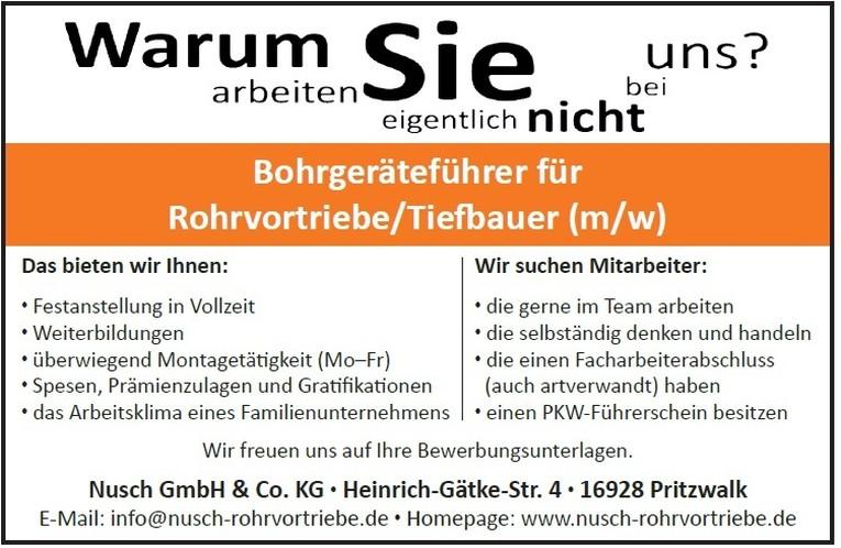 Bohrgeräteführer für Rohrvortriebe/Tiefbauer (m/w)
