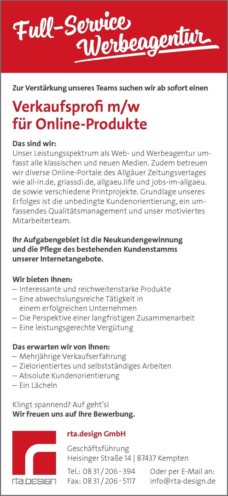 Verkaufsprofi m/w für Online-Produkte