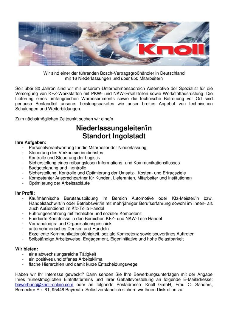 Niederlassungsleiter - Standort Ingolstadt (m/w)