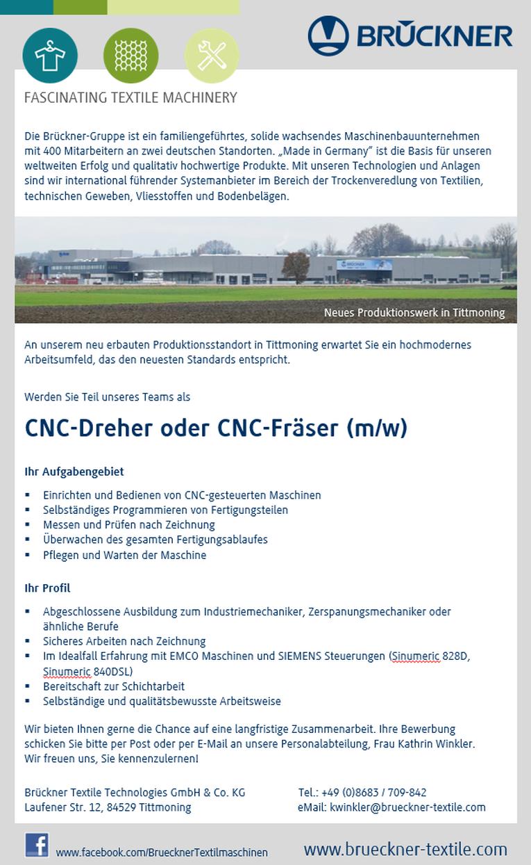 CNC Dreher / CNC Fräser (m/w)