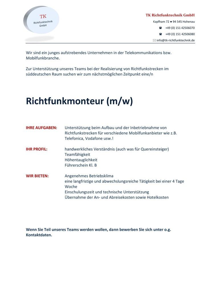 Richtfunk Monteur (m/w)