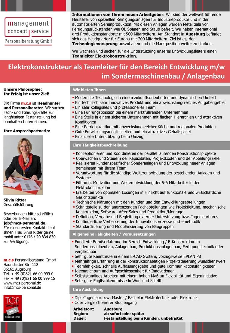 Elektrokonstrukteur als Teamleiter für den Bereich Entwicklung m/w im Sondermaschinenbau / Anlagenbau