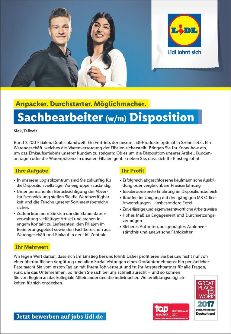 Sachbearbeiter (w/m) Disposition