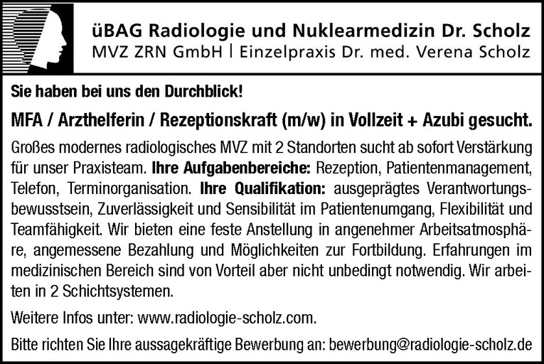 MFA / Arzthelferin / Rezeptionskraft (m/w)