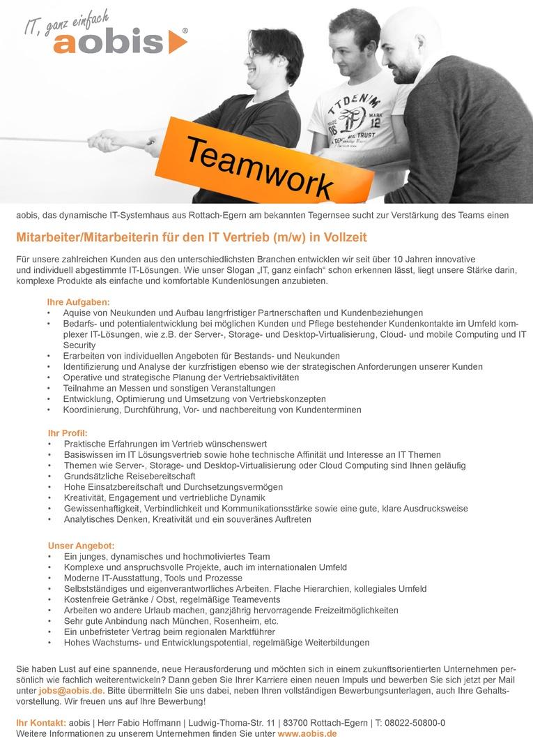 Mitarbeiter/Mitarbeiterin für den IT Vertrieb (m/w) in Vollzeit