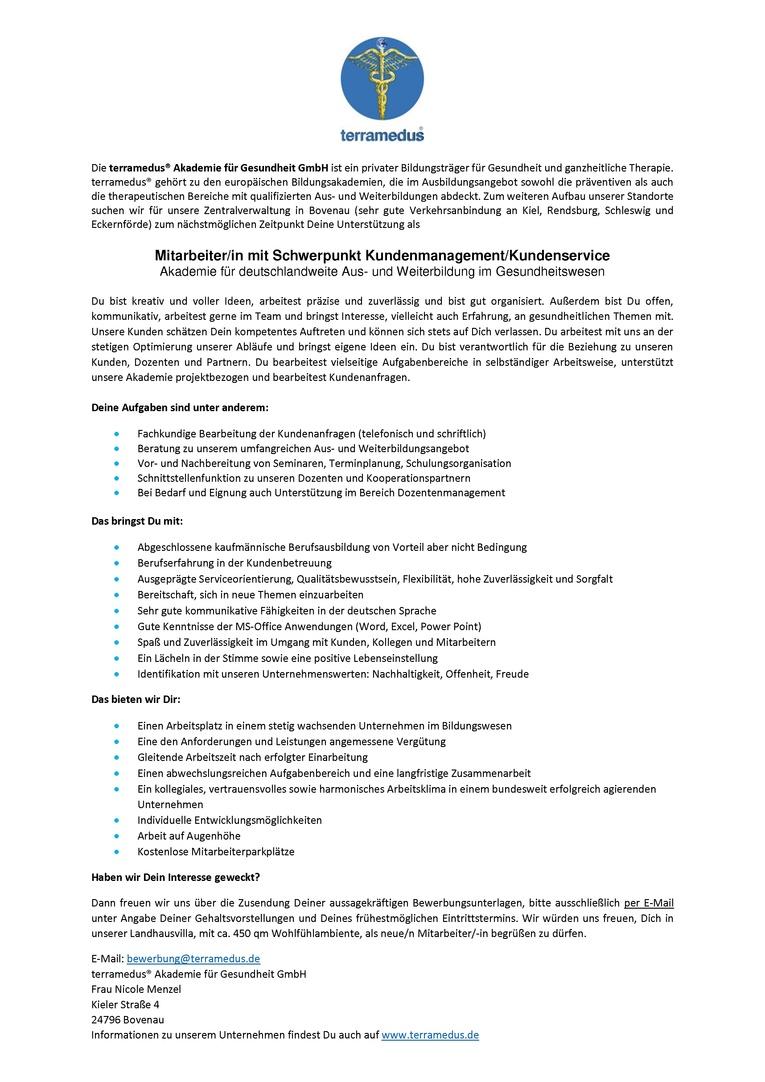 Mitarbeiter/-in mit Schwerpunkt Kundenmanagement/Kundenservice