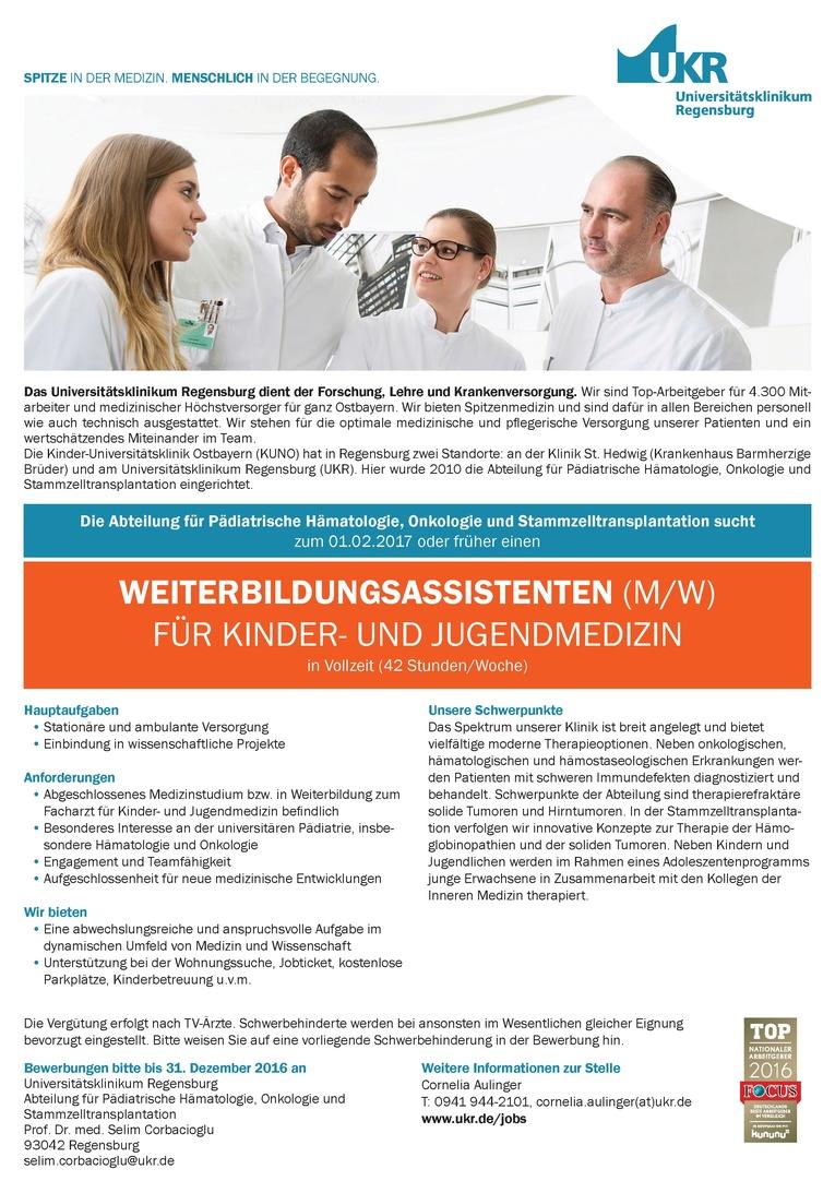 WEITERBILDUNGSASSISTENTEN (M/W) FÜR KINDER- UND JUGENDMEDIZIN