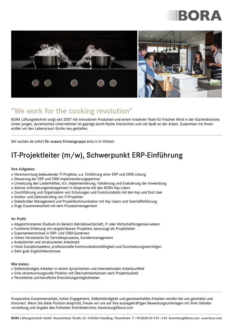 IT-Projektleiter (m/w), Schwerpunkt ERP-Einführung