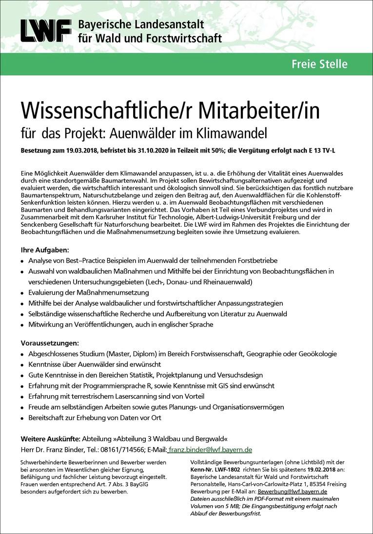 LWF-1802 Wissenschaftliche/r Mitarbeiter/in für das Projekt: Auenwälder im Klimawandel m/w