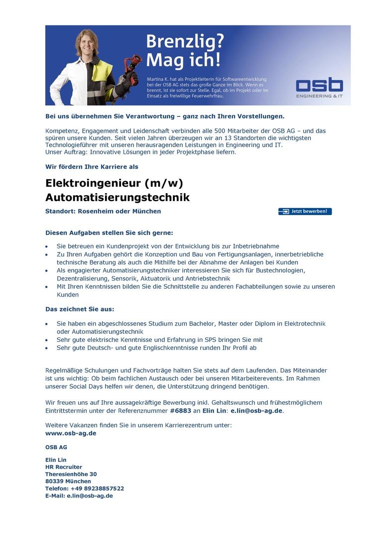 Elektroingenieur (m/w) Automatisierungstechnik