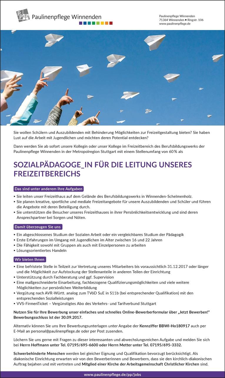 Sozialpädagoge_in für die Leitung unseres Freizeitbereichs