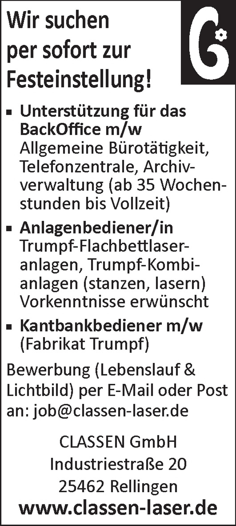 Kantbankbediener m/w