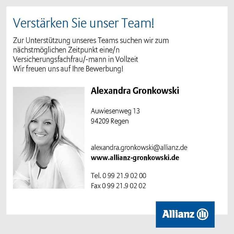 versicherungsfachfrau mann in der allianz generalvertretung alexandra gronkowski - Allianz Bewerbung