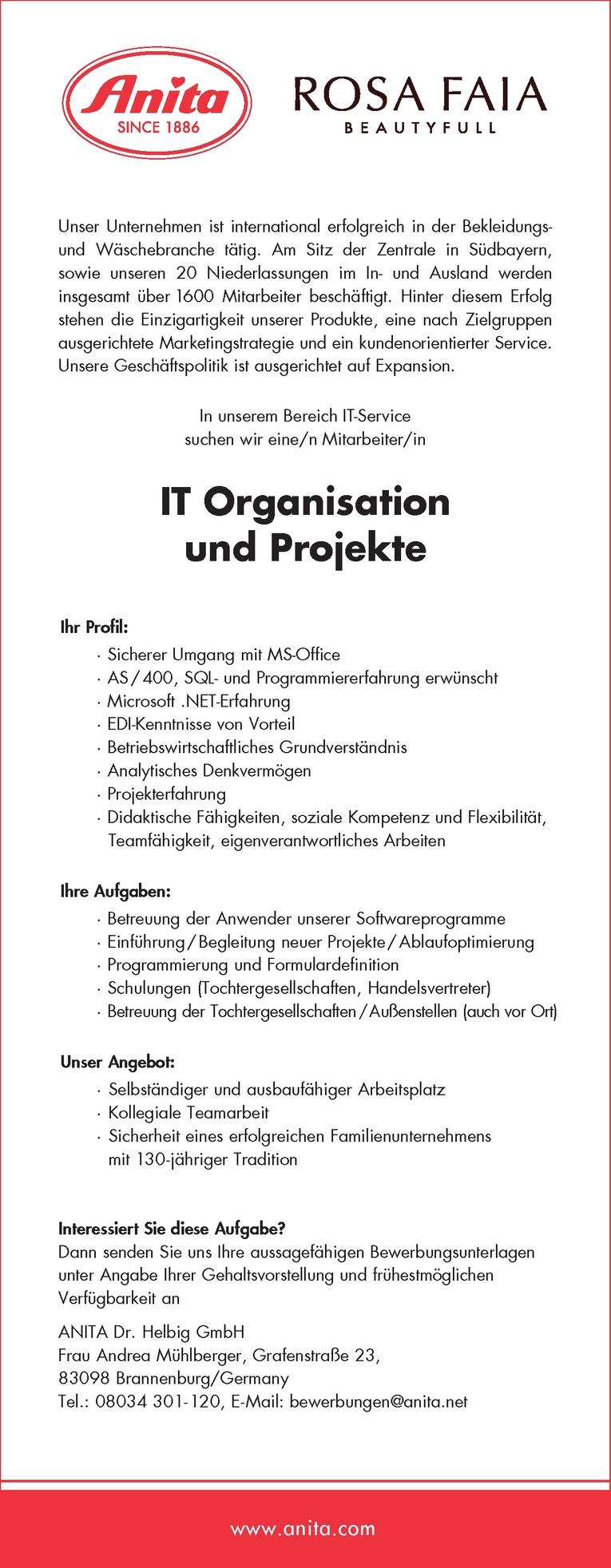 IT Organisation und Projekte w/m