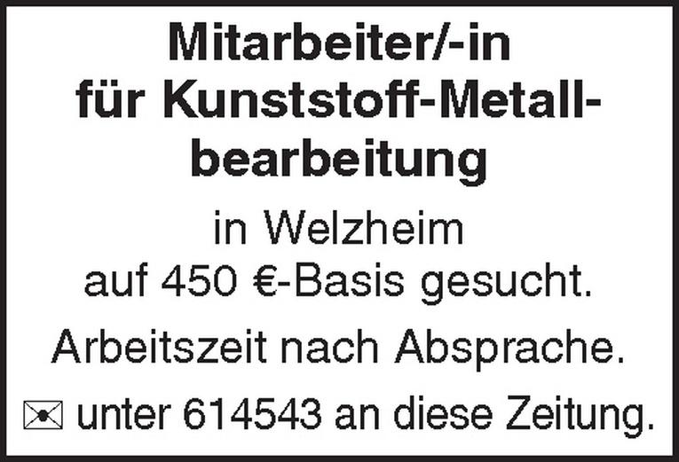 Mitarbeiter/-in für Kunststoff-Metallbearbeitung