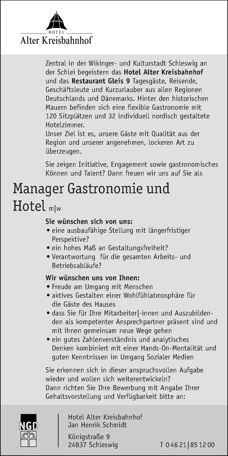 Manager Gastronomie und Hotel m w