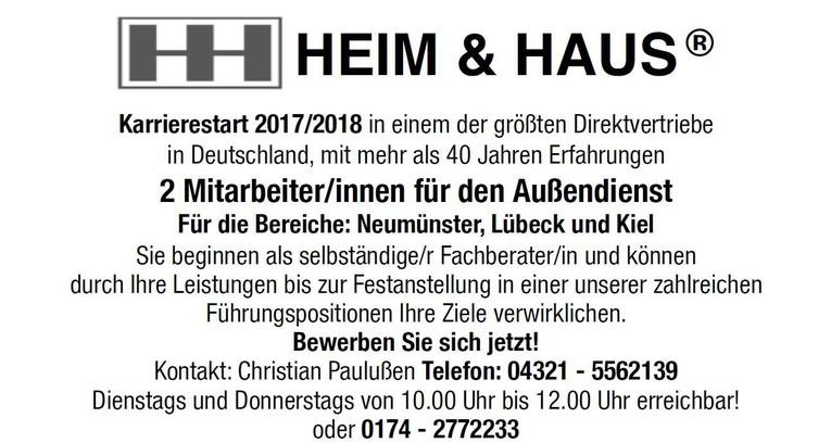 Mitarbeiter/innen für den Außendienst für die Bereiche Lübeck, Kiel und