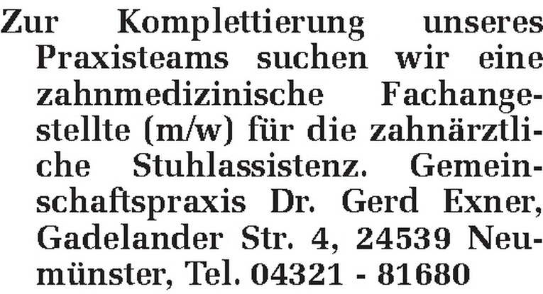 zahnmedizinische Fachangestellte (m/w)