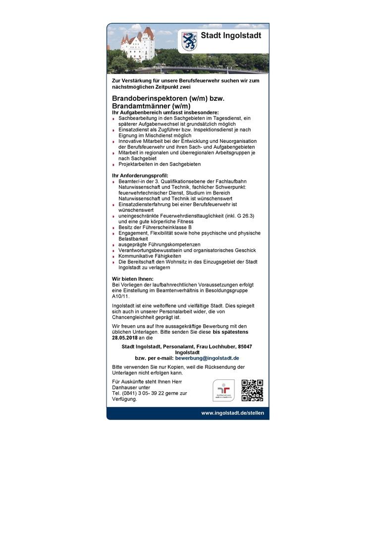 Brandoberinspektoren (w/m) bzw. Brandamtmänner (w/m)