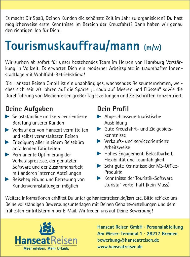 Tourismuskauffrau/mann (m/w)