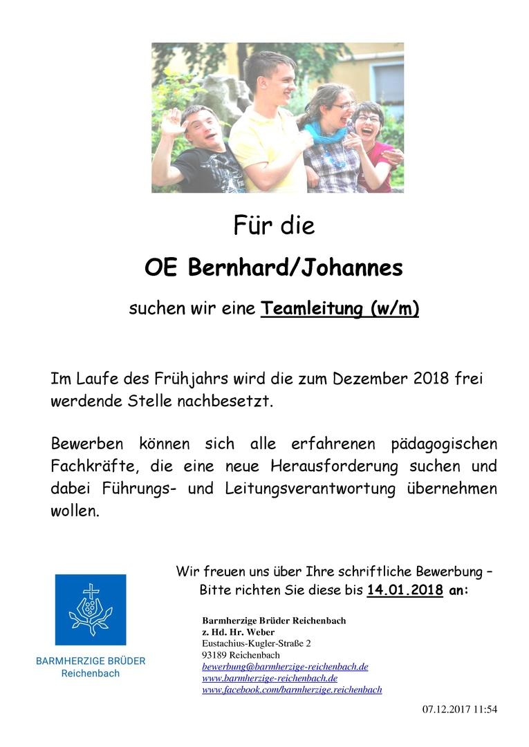 eine Teamleitung (w/m), für die Wohngruppen Bernhard/Johannes