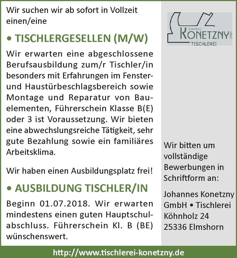 AUSBILDUNG TISCHLER/IN