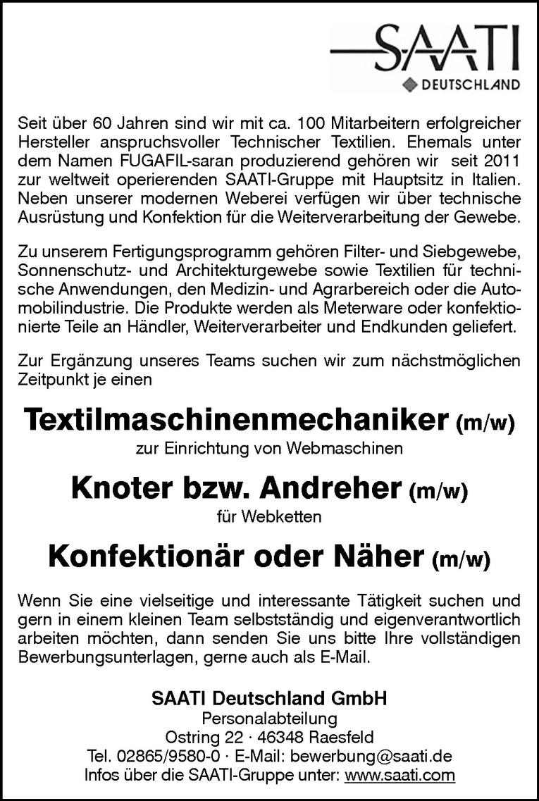 Textilmaschinenmechaniker (m/w)