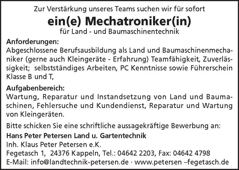 Mechatroniker(in) für Land - und Baumaschinentechnik