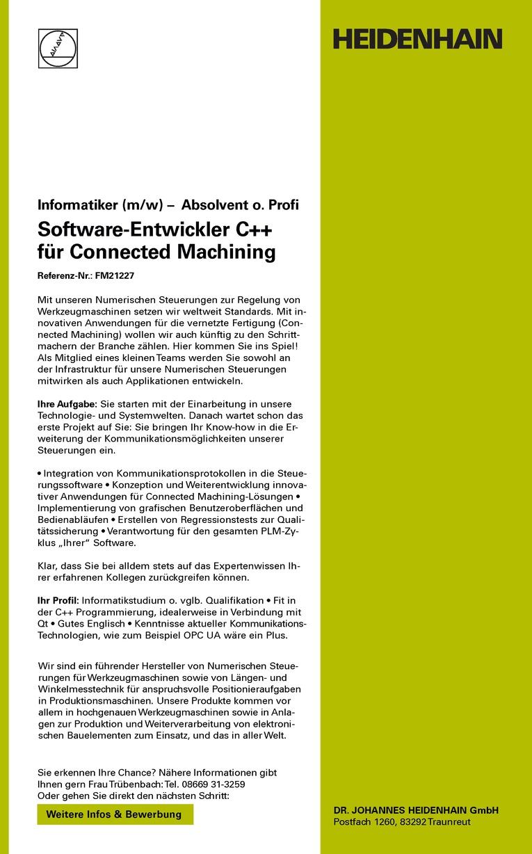 Software-Entwickler C++ für Connected Machining