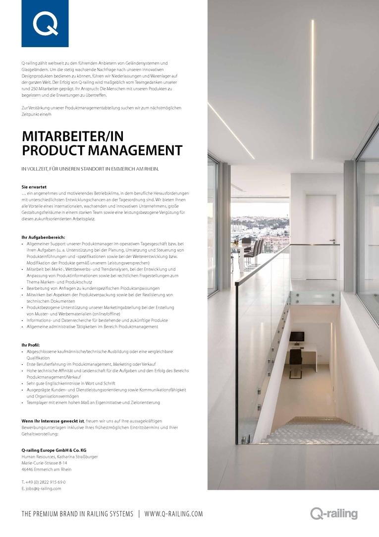 Mitarbeiter/in Product Management