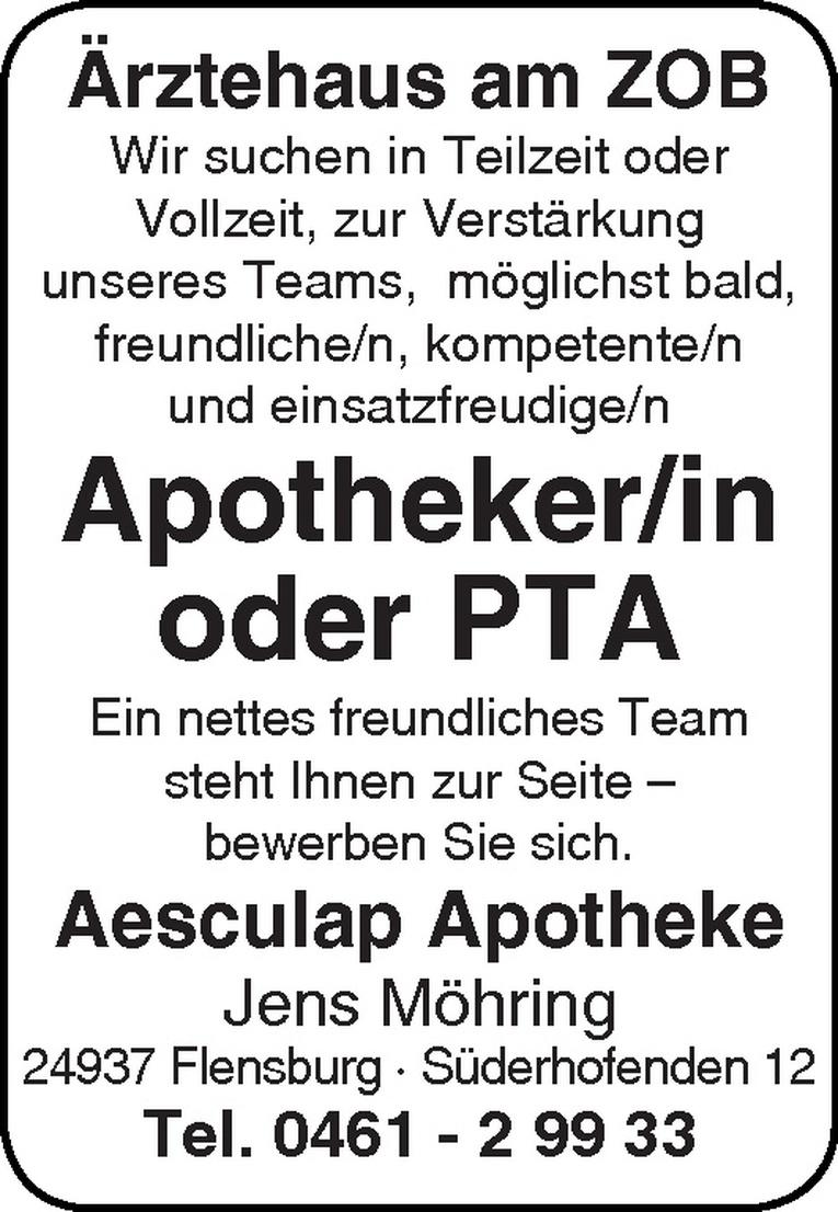 Apotheker/in oder PTA