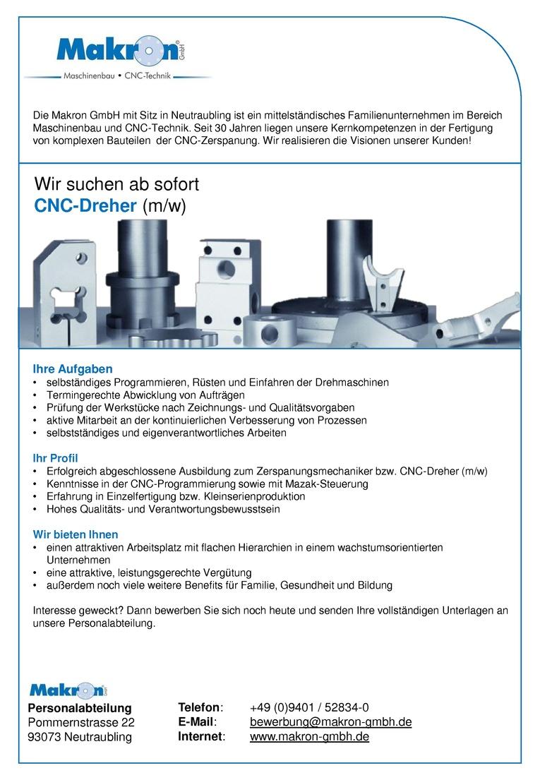 CNC Dreher (m/w) im Schichtbetrieb