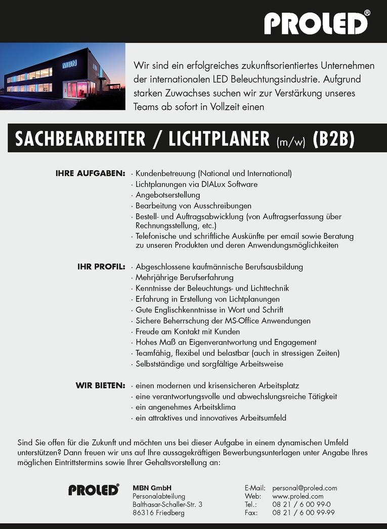 SACHBEARBEITER / LICHTPLANER (m/w) (B2B)
