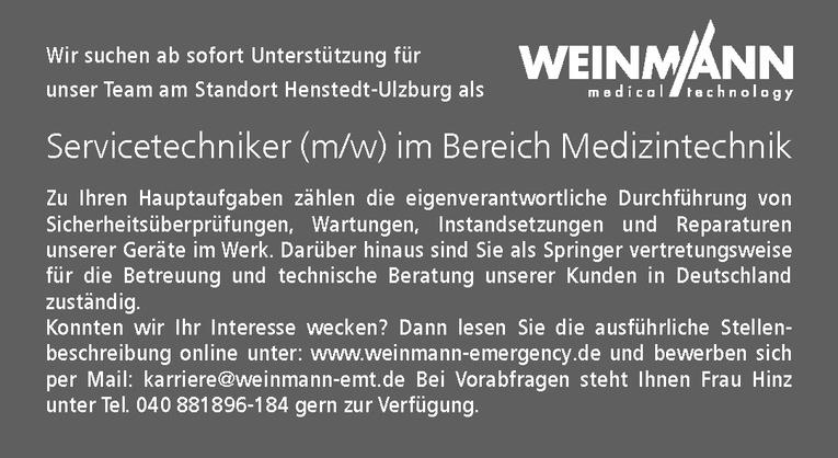 Servicetechniker (m/w) Medizintechnik
