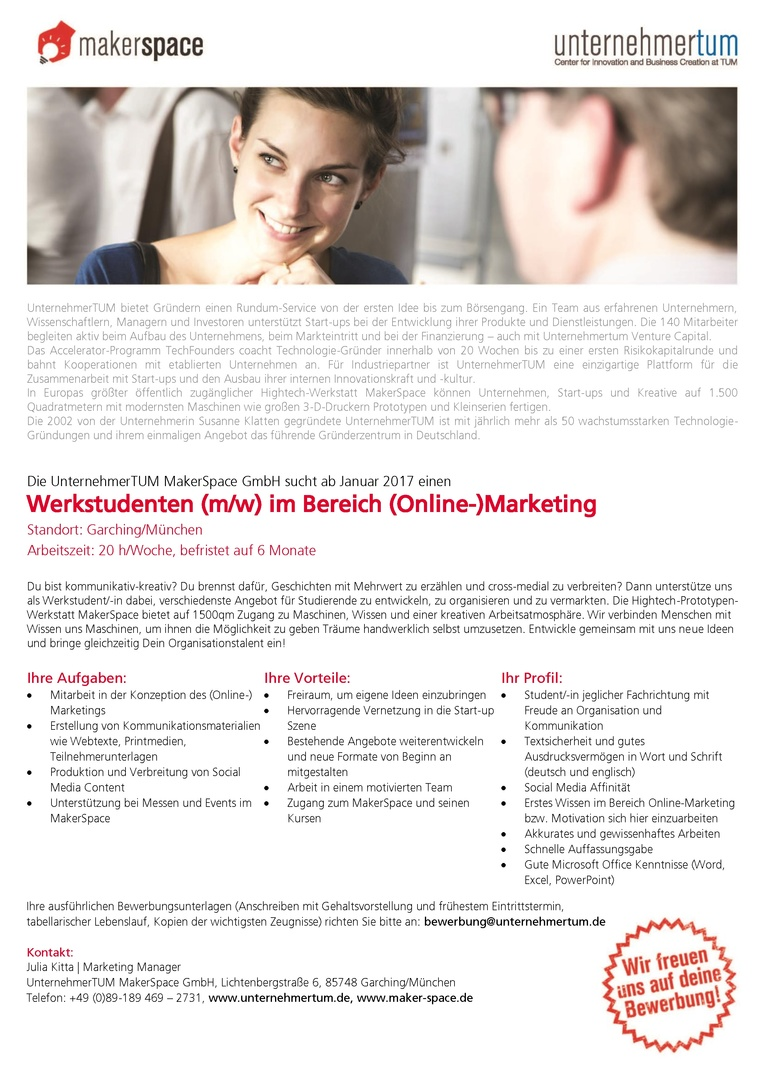 Werkstudenten (m/w) im Bereich (Online-)Marketing