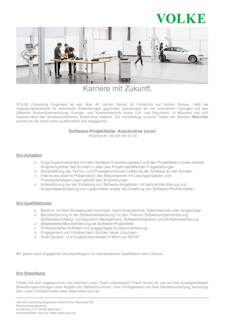 Software-Projektleiter Automotive (m/w)