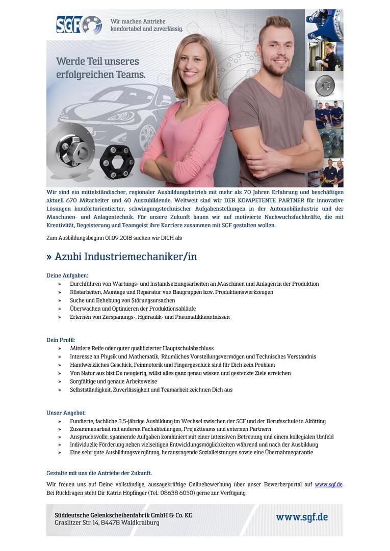 Azubi Industriemechaniker/in