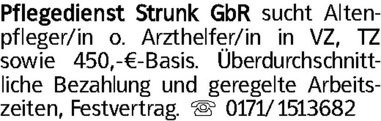 Altenpfleger / Arzthelfer (m/w)
