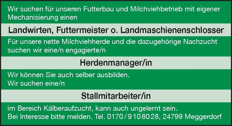 Landwirt, Futtermeister o. Landmaschienenschlosser (m/w)