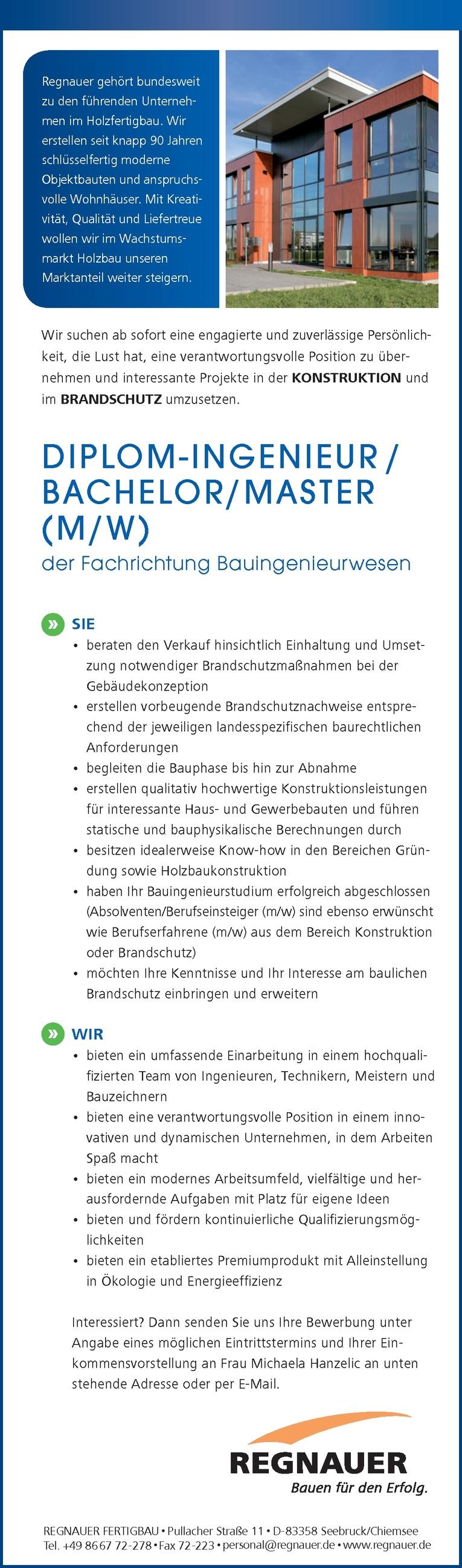 DIPLOM-INGENIEUR / BACHELOR/MASTER (M/W) der Fachrichtung Bauingenieurwesen