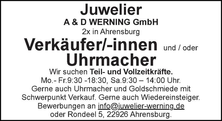 Verkäufer/-innen und / oder Uhrmacher