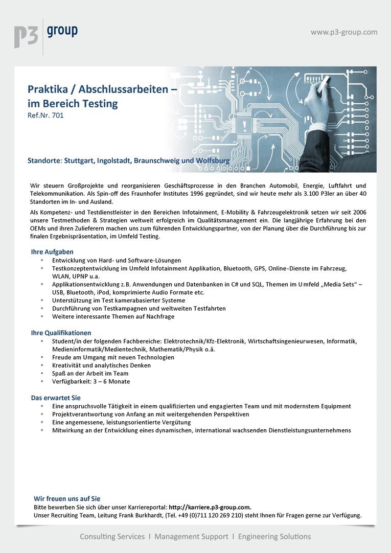 Praktika / Abschlussarbeiten im Bereich Testing (m/w)