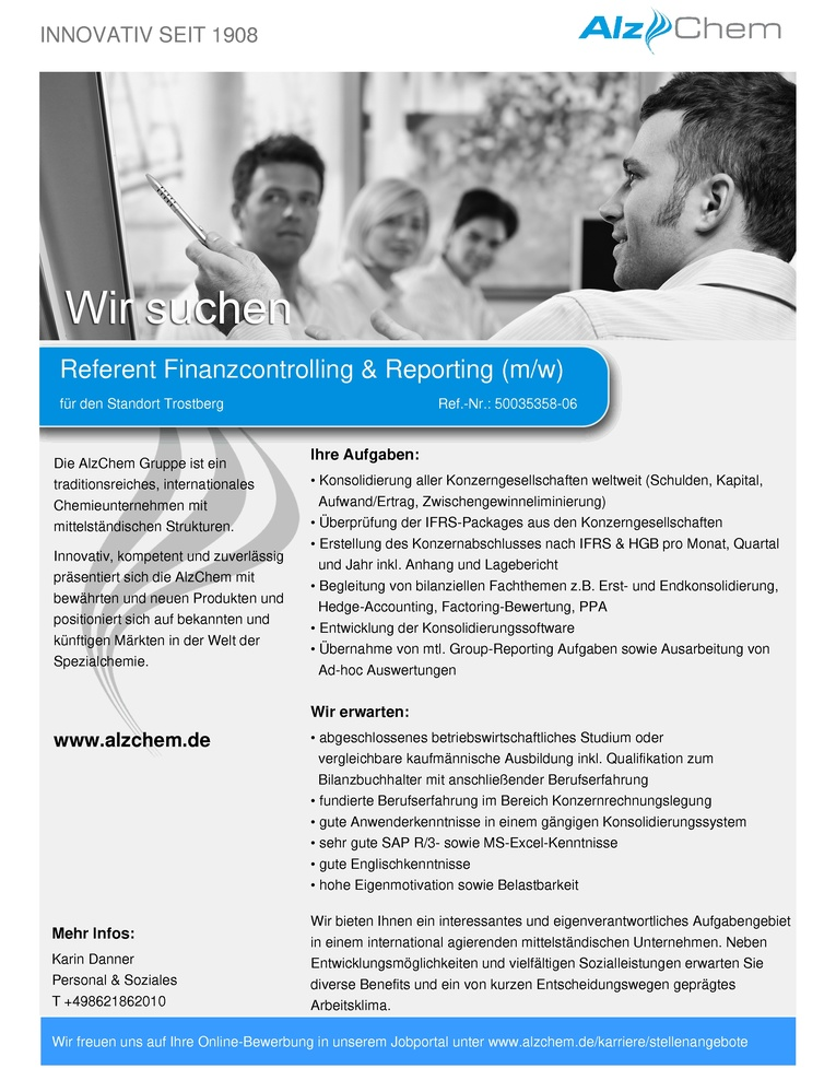 Referent Finanzcontrolling & Reporting (m/w)