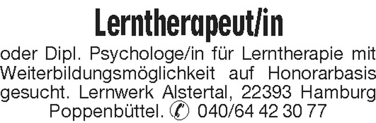 Lerntherapeut/in / Dipl. Psychologe/in