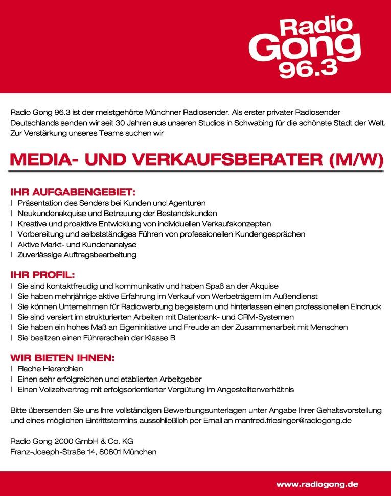 MEDIA-UND VERKAUFSBERATER (M/W)